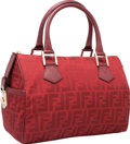 "Luxury Accessories:Bags, Fendi Red Zucca Canvas Bowler Bag. Pristine Condition.11"" Width x 8"" Height x 6.5"" Depth. ..."