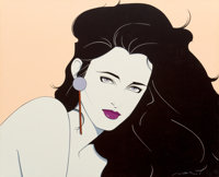 Patrick Nagel (American, 1945-1984) Seductive Portrait Acrylic on canvas 30 x 37 in. Signed lo