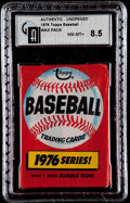 Baseball Cards:Unopened Packs/Display Boxes, 1976 Topps Baseball Unopened Pack GAI NM/MT+ 8.5. ...