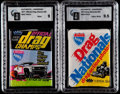 "Non-Sport Cards:Unopened Packs/Display Boxes, 1970's Fleer ""Drag Champs"" and Drag nationals"" Unopened Pack Pair(2). ..."