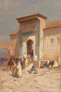 Fine Art - Work on Paper:Watercolor, Samuel Colman (American, 1832-1920). Entranceway to SionHalomi and Evening Before Market at Tangiers (twoworks),... (Total: 2 Items)