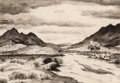 Works on Paper, Peter Hurd (American, 1904-1984). Rancho del Charco Largo, Mountain Landscape, and Study of a Shepherd (three works)... (Total: 3 Items)