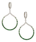 Estate Jewelry:Earrings, Diamond, Tsavorite Garnet, White Gold Earrings, Eli Frei. ...(Total: 2 Items)