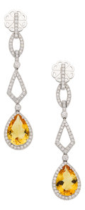 Estate Jewelry:Earrings, Citrine, Diamond, White Gold Earrings, Eli Frei. ... (Total: 2Items)