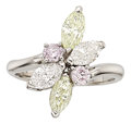 Estate Jewelry:Rings, Diamond, Colored Diamond, Platinum Ring. ...