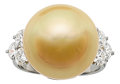 Estate Jewelry:Rings, Golden South Sea Cultured Pearl, Diamond, Platinum Ring, Tiffany & Co. . ...