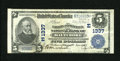 National Bank Notes:Maryland, Baltimore, MD - $5 1902 Plain Back Fr. 598 The Farmers &Merchants NB Ch. # (E)1337. The top edge shows a slice of the ...