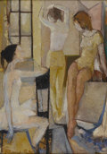 Fine Art - Painting, European:Contemporary   (1950 to present)  , ITALIAN SCHOOL. Dressing Dancers, c.1960. Oil on canvas. 28x 20in.. Signed lower left (indecipherable). Verso inscribed...