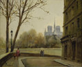Fine Art - Painting, European:Other , MORGAN (French 1915 - ). Paris Notre Dame. Oil on canvas. 15x 18in.. Signed lower left. Titled on stretch. Label v...