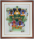 Baseball Collectibles:Others, Aaron, Ryan, Henderson and Rose The Kings Multi Signed Print....