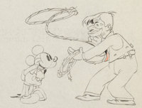 Mickey's Gala Premier Mickey Mouse and Will Rogers Animation Drawing (Walt Disney, 1933)