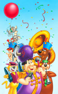 Animation Art:Production Drawing, Fred Flintstone and Friends Brochure Illustration(Hanna-Barbera, c. 1990s)....