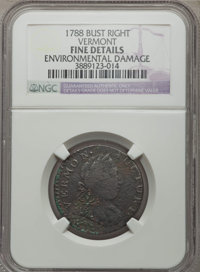 1788 COPPER Vermont Copper, Bust Right, -- Environmental Damage -- NGC Details. Fine. NGC Census: (23/85). PCGS Populati...