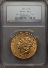 1861 $20 -- Obv Improperly Cleaned -- NCS. AU Details. NGC Census: (253/2066). PCGS Population (223/1023). Mintage: 2,97...