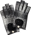 Luxury Accessories:Bags, Chanel Black & White Tweed Boucle Fingerless Gloves.Excellent Condition. Size 7. ...