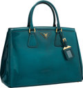"Luxury Accessories:Bags, Prada Teal Patent Leather Tote Bag. Excellent to PristineCondition. 14"" Width x 10"" Height x 4.5"" Depth. ..."