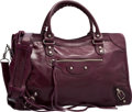 "Luxury Accessories:Bags, Balenciaga Dark Purple Lambskin Leather Classic City Bag. VeryGood to Excellent Condition. 15"" Width x 9.5"" Height x..."