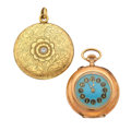 Timepieces:Other , Swiss 14k Gold Pocket Watch & 14k Gold Photo Locket. ... (Total: 2 Items)