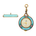 Timepieces:Pendant , Swiss Enamel Ball Pendant & Bucherer Enamel Pin Watches. ... (Total: 2 Items)