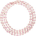 """Luxury Accessories:Accessories, Chanel Pink Crystal & Gold Sautoir Necklace. Excellent Condition. 96"""" Length. ..."""