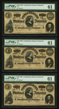 Confederate Notes:1864 Issues, T65 $100 1864 PF-2 Cr. 493, Three Consecutive Examples. ... (Total: 3 notes)
