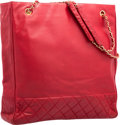 """Luxury Accessories:Accessories, Chanel Red Lambskin Leather Large Tote Bag. Very Good Condition. 15"""" Width x 13"""" Height x 3.5"""" Depth. ..."""