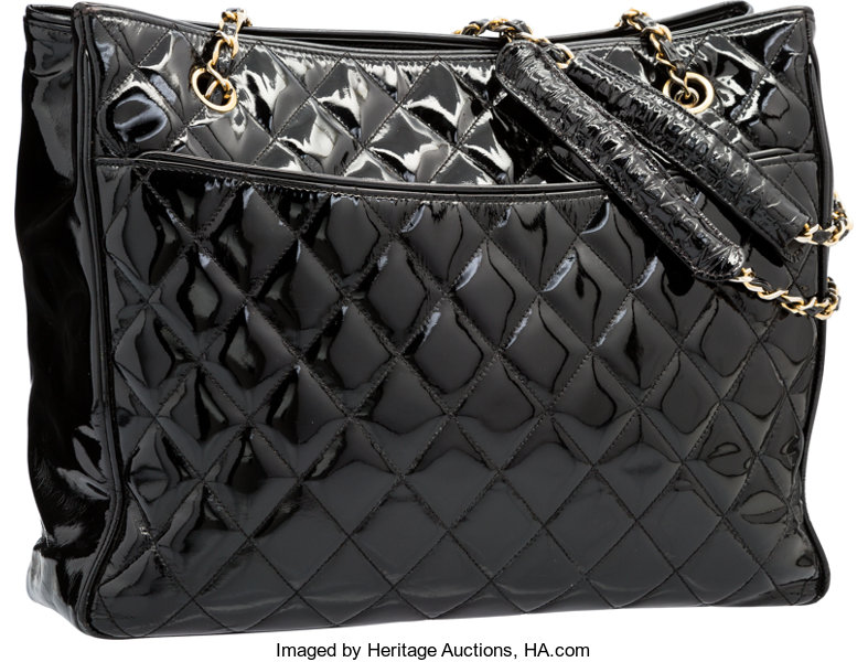 fcef2caafb ... Luxury Accessories:Bags, Chanel Black Quilted Patent Leather Grand  Shopping Tote Bag withGold Hardware ...