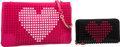 Luxury Accessories:Bags, Christian Louboutin Set of Two; Pink & Black Leather LoubiposhValentines Shoulder Bag and Wallet. Pristine Condition. ...(Total: 2 Items)