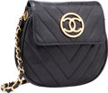 "Luxury Accessories:Bags, Chanel Black Chevron Quilted Lambskin Leather Cross Body Bag.Very Good Condition. 7"" Width x 6"" Height x 1.5""Depth..."