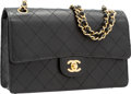 """Luxury Accessories:Bags, Chanel Black Quilted Caviar Leather Medium Single Flap Bag withGold Hardware. Very Good Condition. 10"""" Width x 6""""Hei..."""