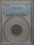 Bust Dimes: , 1835 10C XF45 PCGS. PCGS Population (93/393). NGC Census: (27/376).Mintage: 1,410,000. Numismedia Wsl. Price for problem f...