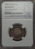 Coins of Hawaii , 1883 25C Hawaii Quarter -- Obv Scratched -- NGC Details. AU. NGCCensus: (30/1123). PCGS Population (89/1554). Mintage:...
