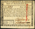 Colonial Notes:Massachusetts, Massachusetts May 5, 1780 $4 Pen Cancel Extremely Fine.. ...