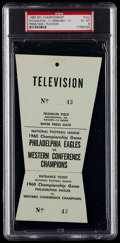 Football Collectibles:Tickets, 1960 NFL Championship Full Press Pass (Packers Vs. Eagles), PSA EX-MT 6 - Only Example Graded!...