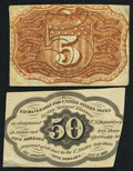 Fractional Currency:First Issue, Fr. 1313SP 50¢ First Issue About New;. Fr. 1232SP 5¢ Second Issue About New.. ... (Total: 2 notes)