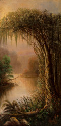 Paintings, Joseph Rusling Meeker (American, 1827-1889). Bayou. Oil on canvas laid on board. 19-3/4 x 9-3/4 inches (50.2 x 24.8 cm)...