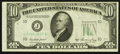 Error Notes:Obstruction Errors, Fr. 2011-J $10 1950A Federal Reserve Note. Fine-Very Fine.. ...