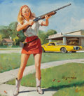 Pin-up and Glamour Art, Gil Elvgren (American, 1914-1980). Napa Skeet Club,preliminary, 1947. Oil on board. 20.375 x 18 in. (image).Signed low...