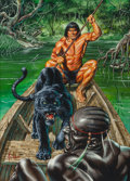 Mainstream Illustration, Joe Jusko (American, b. 1959). Sentinel, Tarzan and the City ofGold interior illustration. Gouache on board. 11 x 8 in....(Total: 2 Items)