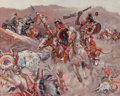 Pulp, Pulp-like, Digests, and Paperback Art, Benton Henderson Clark (American, 1895-1964). The Battle ofLittle Big Horn, 1955. Oil on canvas. 24 x 30 in.. Signed an...