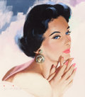 Paintings, Jon Whitcomb (American, 1906-1988). Blue Eyes and Big Earrings. Gouache on board. 11.75 x 10.25 in. (sight). Signed lowe...