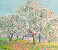 Fine Art - Painting, American:Contemporary   (1950 to present)  , Clarence R. Johnson (American, 1894-1981). Spring Blossoms.Oil on canvas. 34 x 39-1/2 inches (86.4 x 100.3 cm). Signed ...
