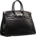 Luxury Accessories:Bags, Hermes 35cm Matte Black Porosus Crocodile Birkin Bag with PalladiumHardware. L Square, 2008. Very Good Condition. ...