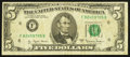 Error Notes:Ink Smears, Fr. 1975-F $5 1977A Federal Reserve Note. Fine.. ...