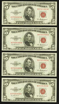 Error Notes:Miscellaneous Errors, Fr. 1533 $5 1953A Legal Tender Notes. Four Consecutive Examples. Extremely Fine-About Uncirculated.. ... (Total: 4 notes)