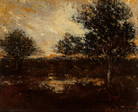 Ralph Albert Blakelock (American, 1847-1919) Reflections Oil on canvas laid on board 10-1/4 x 12