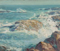 Fine Art - Painting, American:Antique  (Pre 1900), George William Sotter (American, 1879-1953). A Rocky Coast.Oil on board. 10 x 11-3/8 inches (25.4 x 28.9 cm). Signed lo...