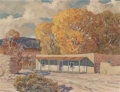 Fine Art - Painting, American:Modern  (1900 1949)  , Carl Von Hassler (American, 1887-1969). Autumn in Pojoaque, NewMexico, 1941. Oil on board. 20-1/4 x 26-1/2 inches (51.4...