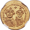 Ancients:Byzantine, Ancients: Heraclius (AD 610-641), with Heraclius Constantine (AD613-641). AV solidus (22mm, 4.42 gm, 6h)....