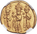 Ancients:Byzantine, Ancients: Heraclius (AD 610-641), with Heraclius Constantine (AD613-641) and Heraclonas as Caesar (AD 632-638). AV solidus (21mm,4.46 ...